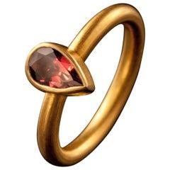Dancing Apsara Tourmaline and Yellow Gold Stacking Ring