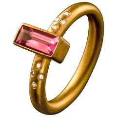 Dancing Apsara Diamond and Tourmaline Yellow Gold Stacking Ring