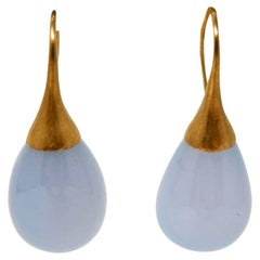 Dancing Apsara Blue Lace Agate and Gold Drop Earrings