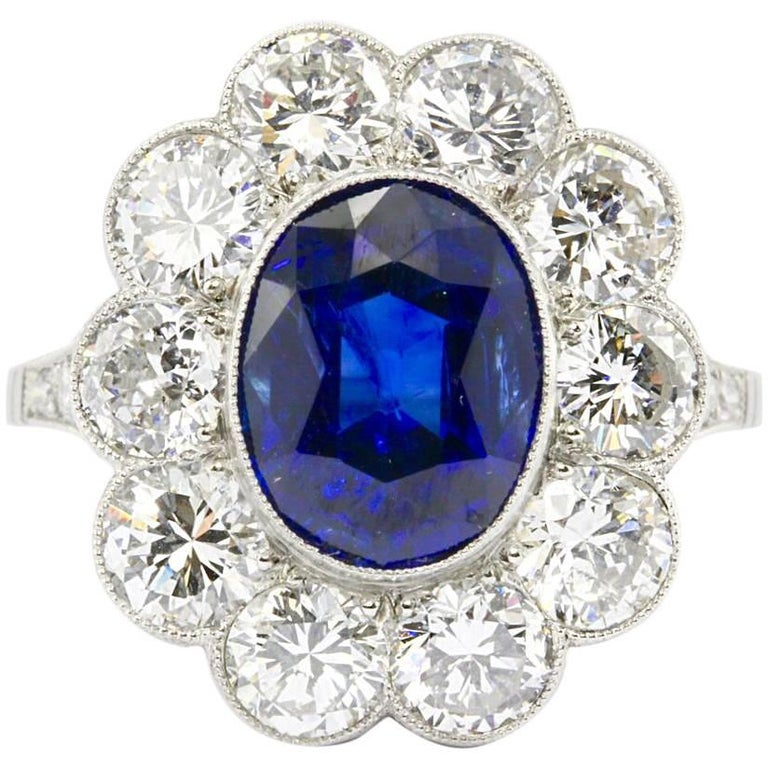 GIA Certified Natural No Treatment 4.08 Carat Sapphire Diamond Ring
