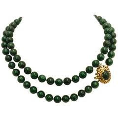 Classic 18 Karat Jade Bead Necklace