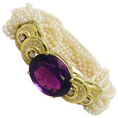 Amethyst Seed Pearl Diamond Gold Bracelet