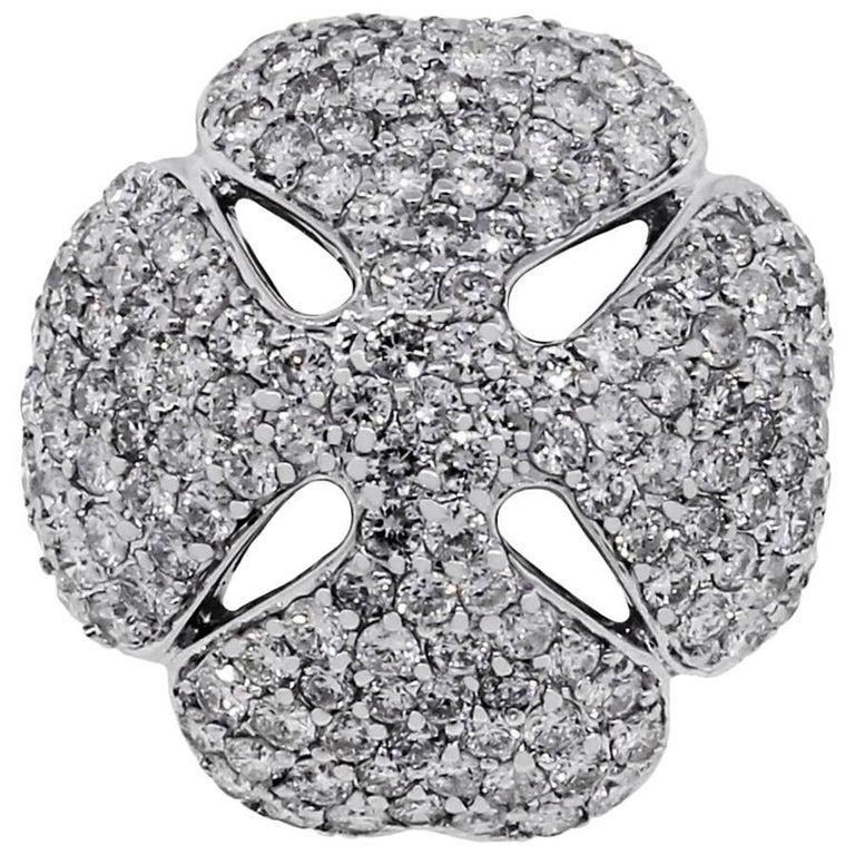 Pave Diamond Clover Ring