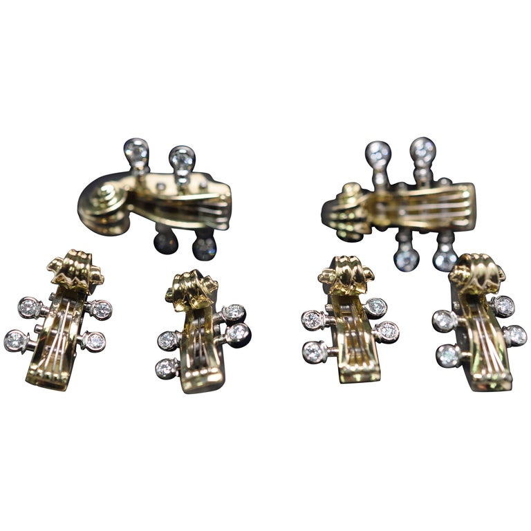 Deakin and Francis Yellow Gold and Diamond Cello Cufflinks and Stud Set