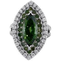 3 Carat Marquise Green Diamond and White Diamond Ring