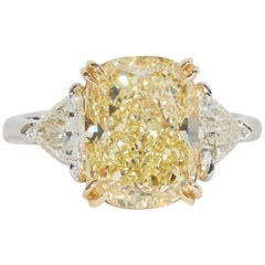 5 Carat Fancy Yellow Engagement Ring GIA Certified