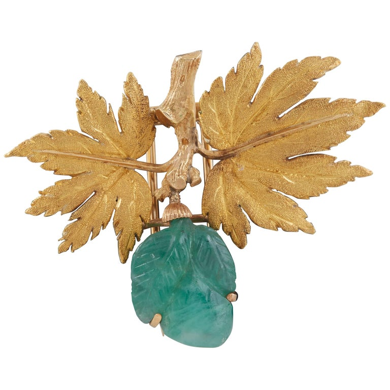 Buccellati Gold and Carved Emerald Brooch For Sale