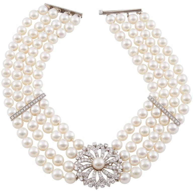 Beautiful Akoya Pearl and Diamond Chocker