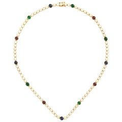 18 Karat Yellow Gold Diamond, Ruby, Sapphire and Emerald Necklace by Graff