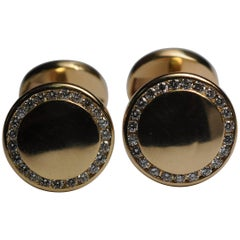 Cartier Yellow Gold Diamond Round Cufflinks