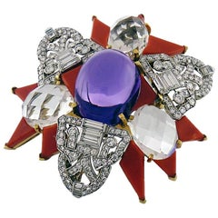 Diamond, Amethyst, Rock Crystal and Carved Coral Brooch, David Webb