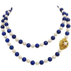 Luscious Lapis, Pearl and Sapphire 18 Karat Necklace