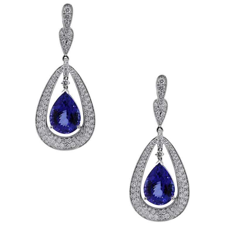 20.37 Carat Total Tanzanite and Diamond Dangle Earrings