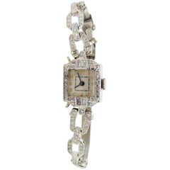 S. Kocher Ladies platinum Diamond Art Deco manual Wristwatch