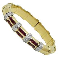 2.00 Carat Ruby and Diamond Yellow Gold Bracelet