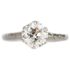 GIA Certified 1.34 Carat Diamond Platinum Engagement Ring
