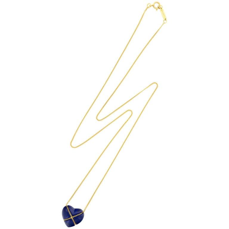 Tiffany & Co. 18 Karat Yellow Gold Lapis Lazuli Heart Necklace