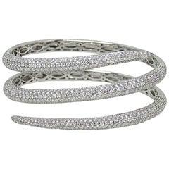 18 Karat White Gold Diamond Warp Around Bangle