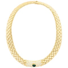Van Cleef & Arpels Paris Diamond Emerald Matelasse Gold Necklace