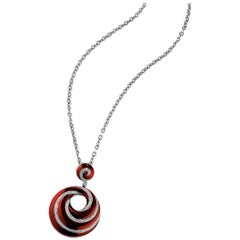 Itallian Design Sterling Silver Red Enamel and Diamond Necklace