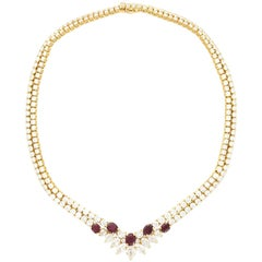 Van Cleef & Arpels Paris Diamond Ruby Gold Necklace