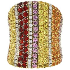 Valente Diamond and Multicolored Sapphire Wide Ring
