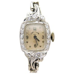 Lady Elgin Ladies White Gold Diamond Art Deco manual Wristwatch