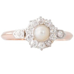 Antique French Pearl and Diamond Cluster Ring