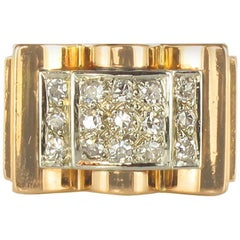 French 1950s Tank Diamond 18 Carat Yellow Gold Retro Ring
