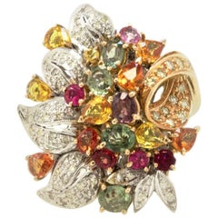 Luise Rose Sapphire and Diamonds White Gold Cluster Ring