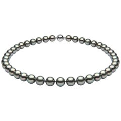 Yoko London 10mm Tahitian Pearl Classic Row Necklace on 18 Karat White Gold