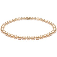 Yoko London Golden South Sea Classic Row Necklace on 18 Karat Yellow Gold