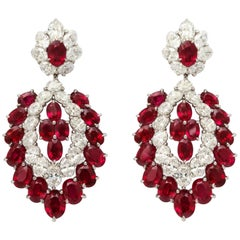 Exceptional Burmese Ruby and Diamond Earclips