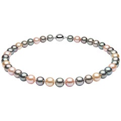 Yoko London Multi-Colour Pearl Classic Row Necklace on 18 Karat White Gold