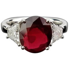 Certified 4.05 Carat No Heat Mozambique Ruby and Diamond Ring