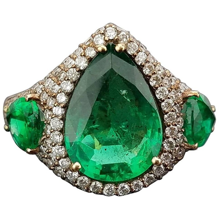 Pear Shape Emerald and Diamond Cocktail Ring For Sale