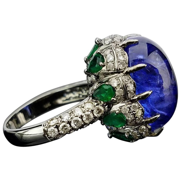 Modern Tanzanite Emerald and Diamond Cocktail Ring