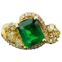 Zambian Emerald and Colored Diamond Cocktail Ring