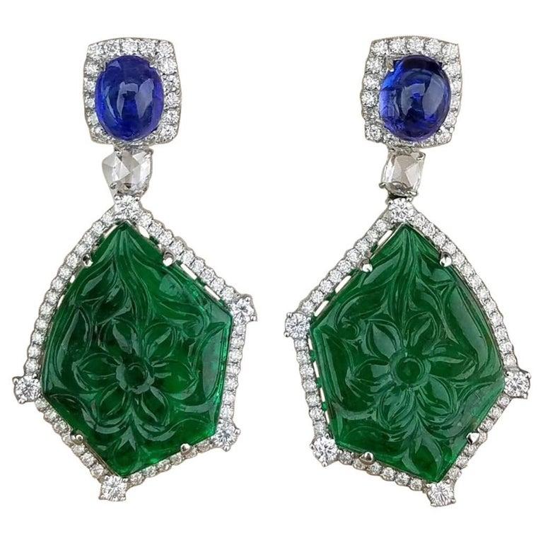 Carved Emerald Tanzanite Diamond Drop Earrings