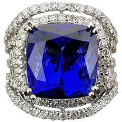 11.6 Carat Tanzanite and Diamond Cocktail Ring