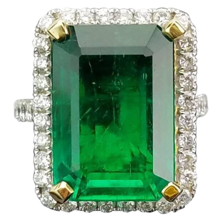 15.19 carat Zambian Emerald and Diamond Cocktail Ring