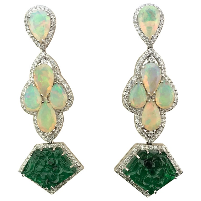 Dangling Earring with Pear Shape Opal, Carved Emerald and Diamond