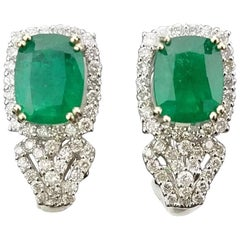 4.07 Carat Emerald and Diamond Stud Earring