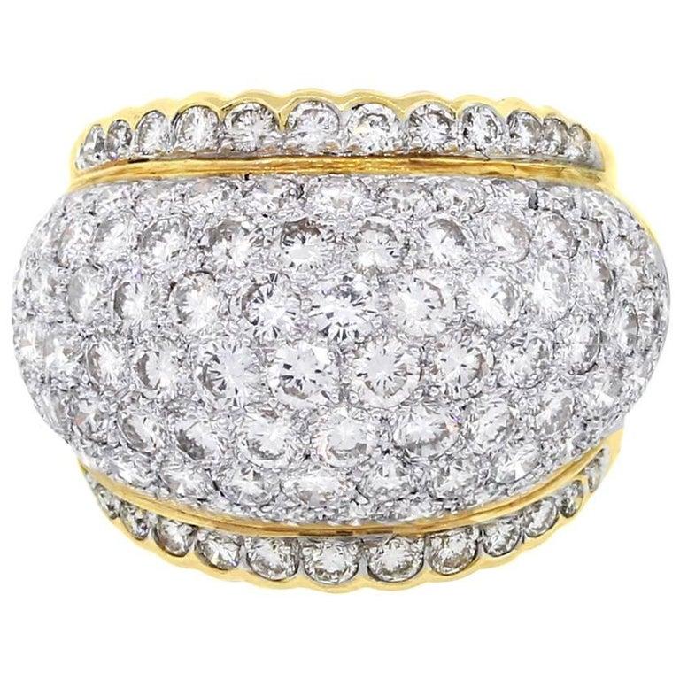 Round Brilliant Diamond Pave Cocktail Ring