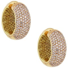 Pink Diamond and Yellow Diamond Inside Out Hoop Earrings