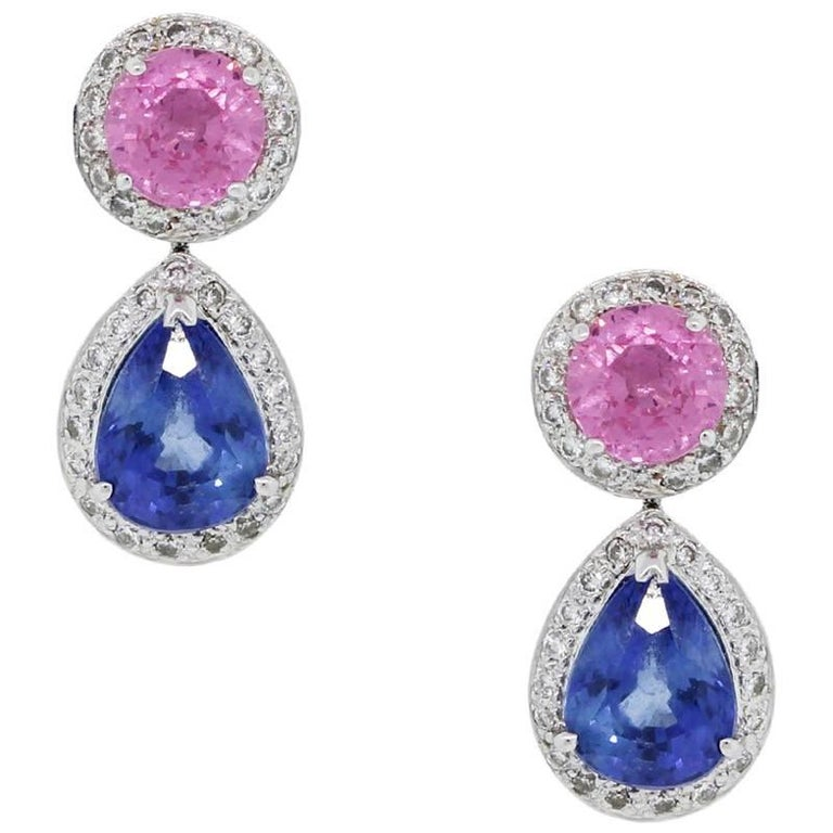 Pink Sapphire, Blue Sapphire and Diamond Dangle Earrings
