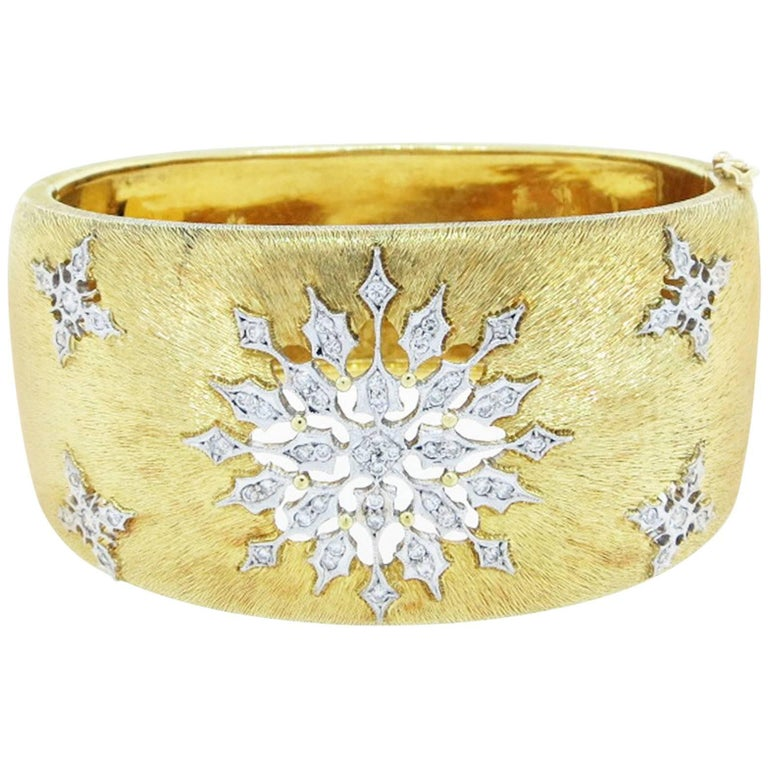 Diamond and 18kt White and Yellow Gold Open Work Bangle at 1stdibs
