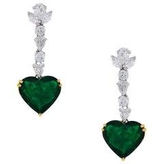 Heart Shape Emerald Diamond Drop Earrings
