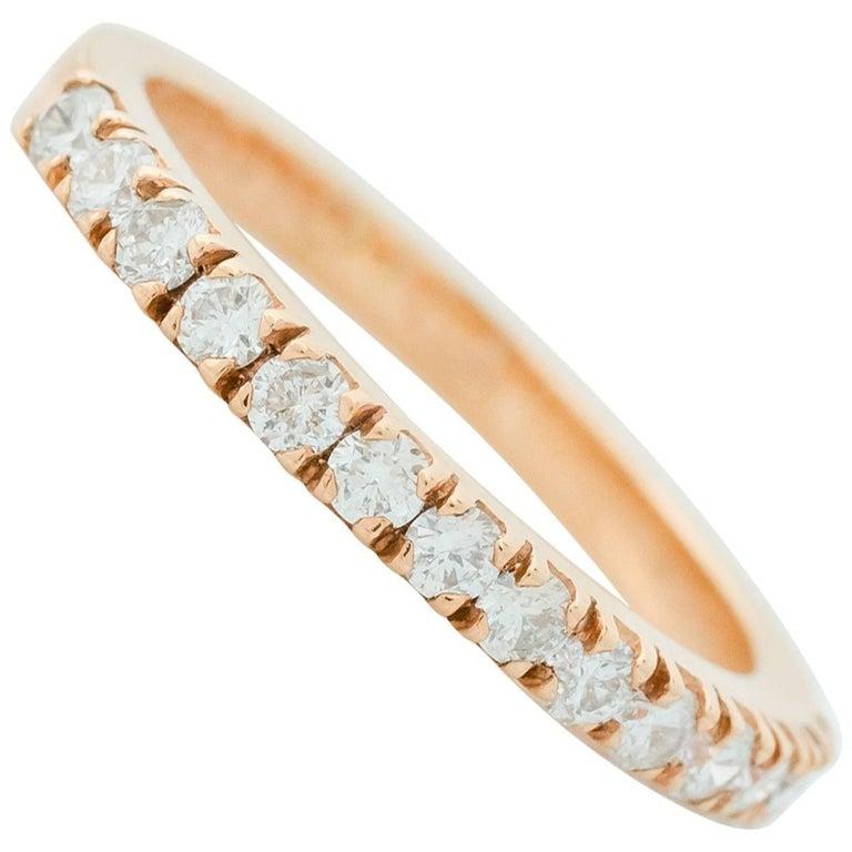 0.5 Carat Diamond 18 Karat Rose Gold Eternity Band