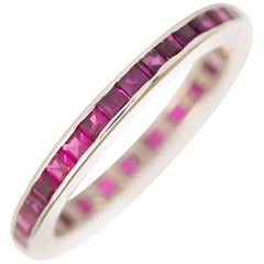 1.30 Carat, Total Weight Ruby White Gold Wedding Band